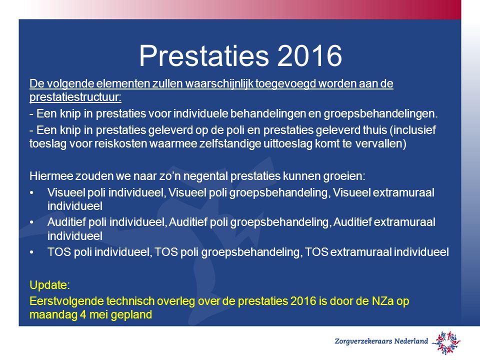 Prestaties 2016 De volgende elementen zullen waarschijnlijk toegevoegd worden aan de prestatiestructuur: - Een knip in prestaties voor individuele behandelingen en groepsbehandelingen.