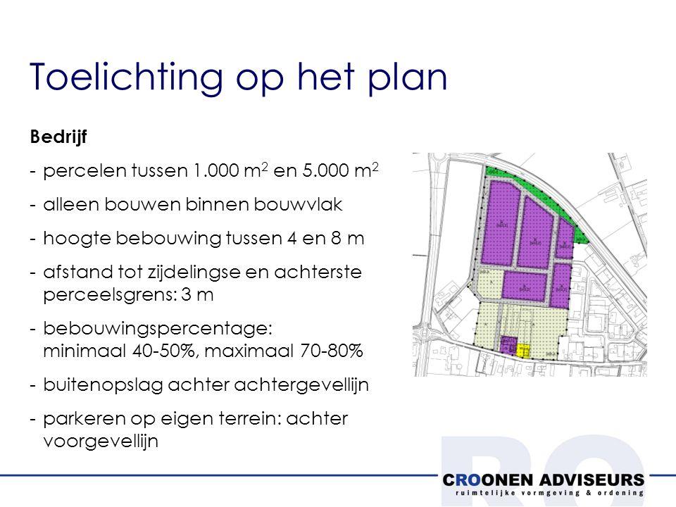 Toelichting op het plan Bedrijf -percelen tussen 1.000 m 2 en 5.000 m 2 -alleen bouwen binnen bouwvlak -hoogte bebouwing tussen 4 en 8 m -afstand tot zijdelingse en achterste perceelsgrens: 3 m -bebouwingspercentage: minimaal 40-50%, maximaal 70-80% -buitenopslag achter achtergevellijn -parkeren op eigen terrein: achter voorgevellijn