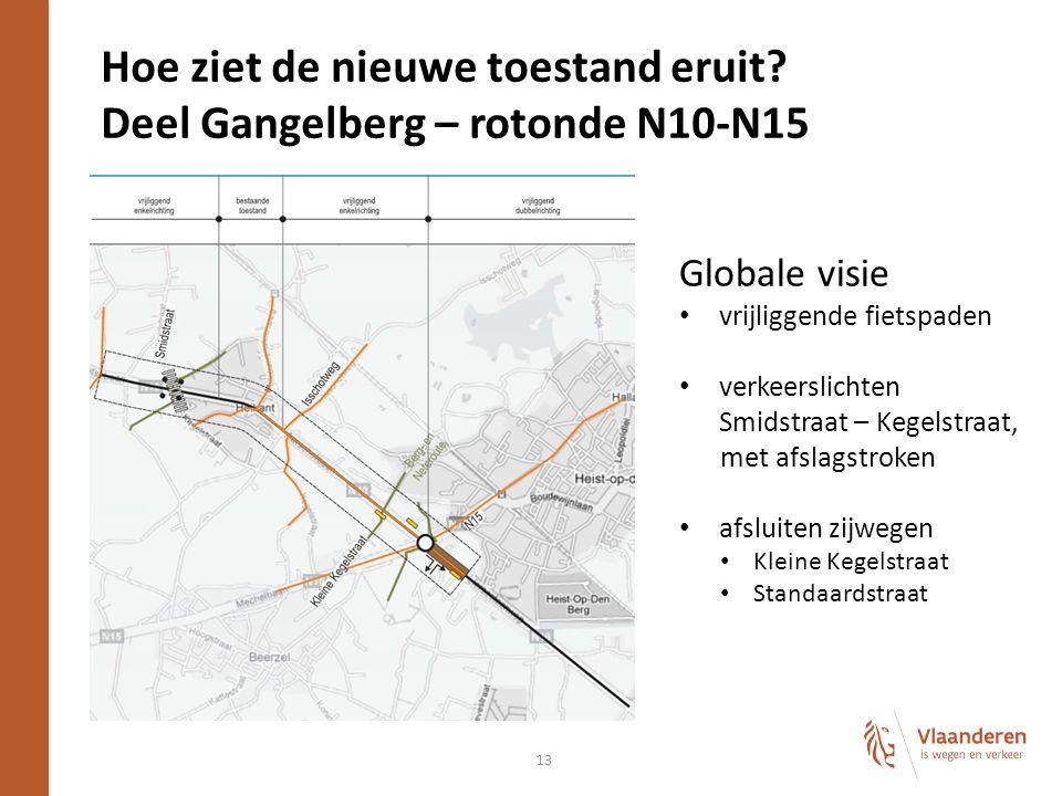 13 Hoe ziet de nieuwe toestand eruit? Deel Gangelberg – rotonde N10-N15 Globale visie vrijliggende fietspaden verkeerslichten Smidstraat – Kegelstraat