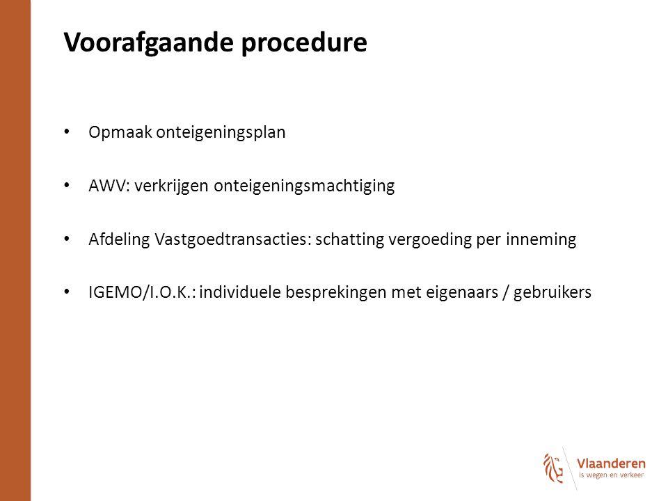 Voorafgaande procedure Opmaak onteigeningsplan AWV: verkrijgen onteigeningsmachtiging Afdeling Vastgoedtransacties: schatting vergoeding per inneming