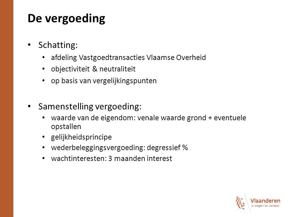 De vergoeding Schatting: afdeling Vastgoedtransacties Vlaamse Overheid objectiviteit & neutraliteit op basis van vergelijkingspunten Samenstelling ver