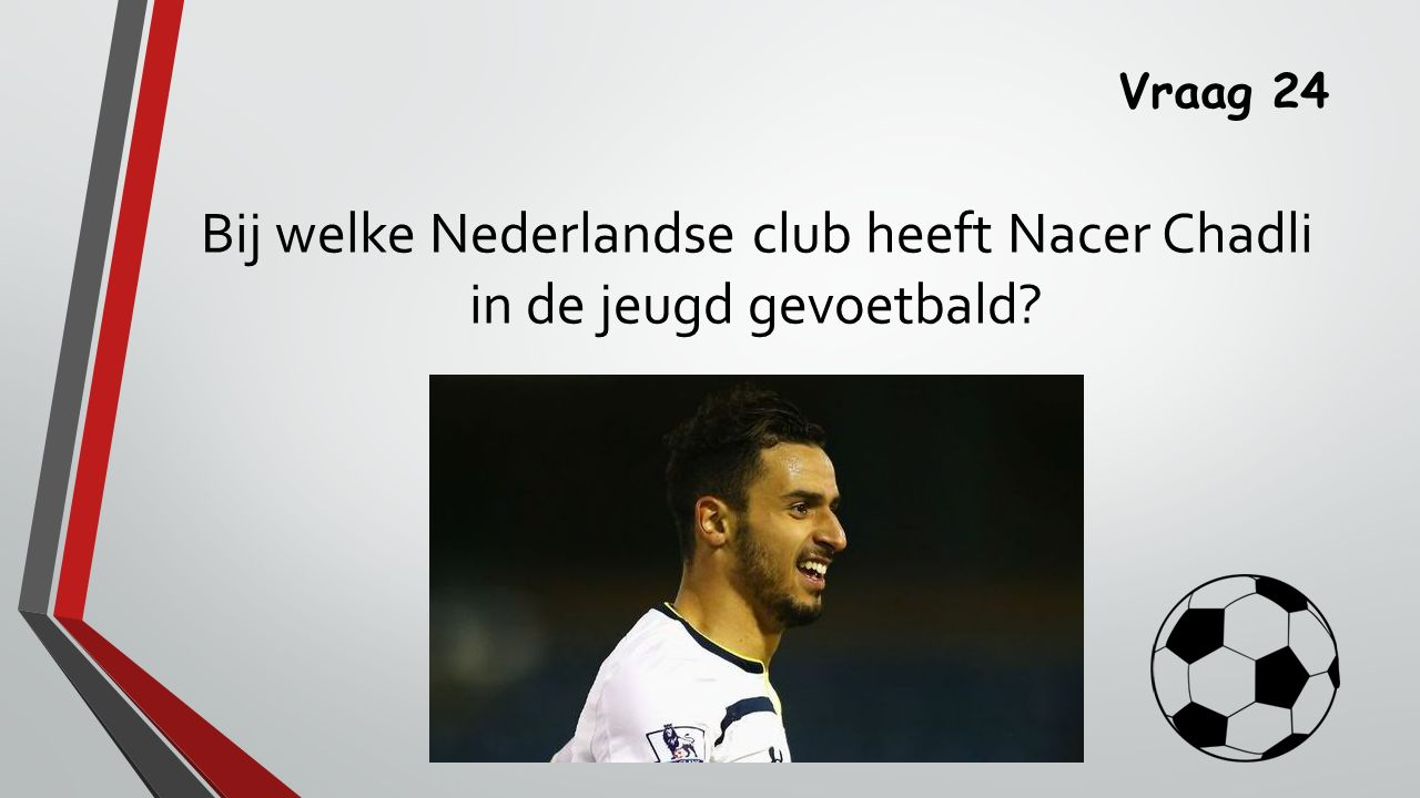 Vraag 24 Bij welke Nederlandse club heeft Nacer Chadli in de jeugd gevoetbald