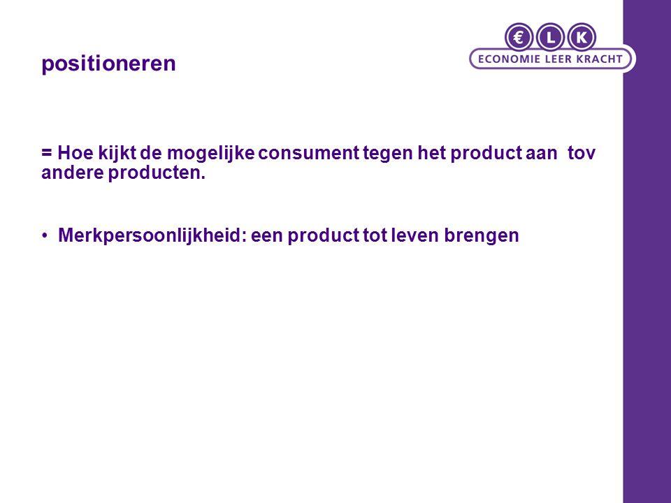 = Hoe kijkt de mogelijke consument tegen het product aan tov andere producten.