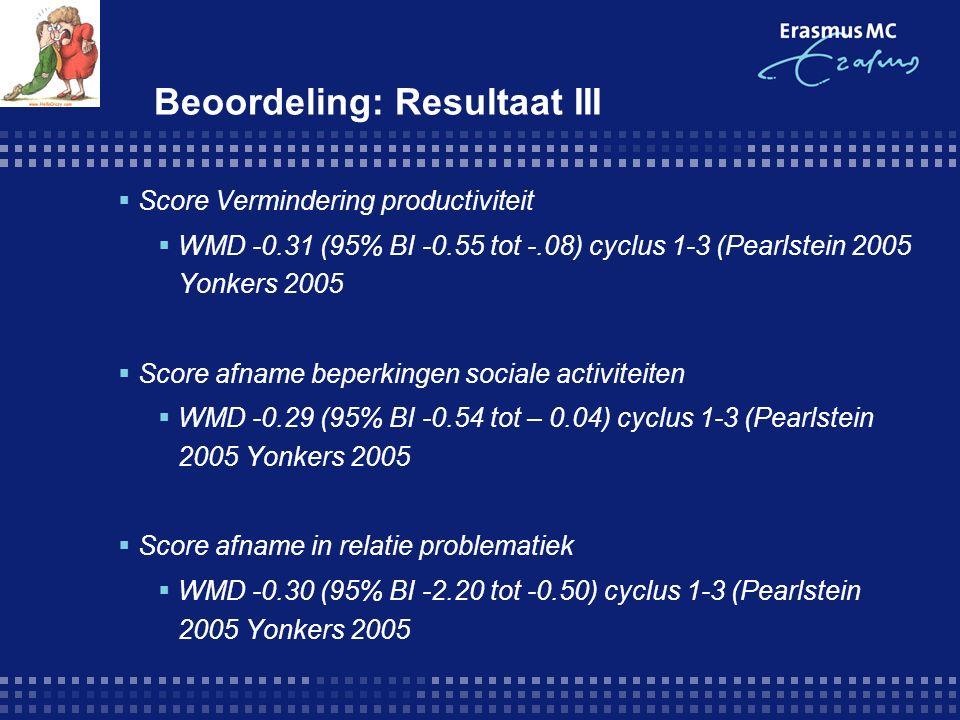 `Beoordeling: Resultaat III  Score Vermindering productiviteit  WMD -0.31 (95% BI -0.55 tot -.08) cyclus 1-3 (Pearlstein 2005 Yonkers 2005  Score afname beperkingen sociale activiteiten  WMD -0.29 (95% BI -0.54 tot – 0.04) cyclus 1-3 (Pearlstein 2005 Yonkers 2005  Score afname in relatie problematiek  WMD -0.30 (95% BI -2.20 tot -0.50) cyclus 1-3 (Pearlstein 2005 Yonkers 2005