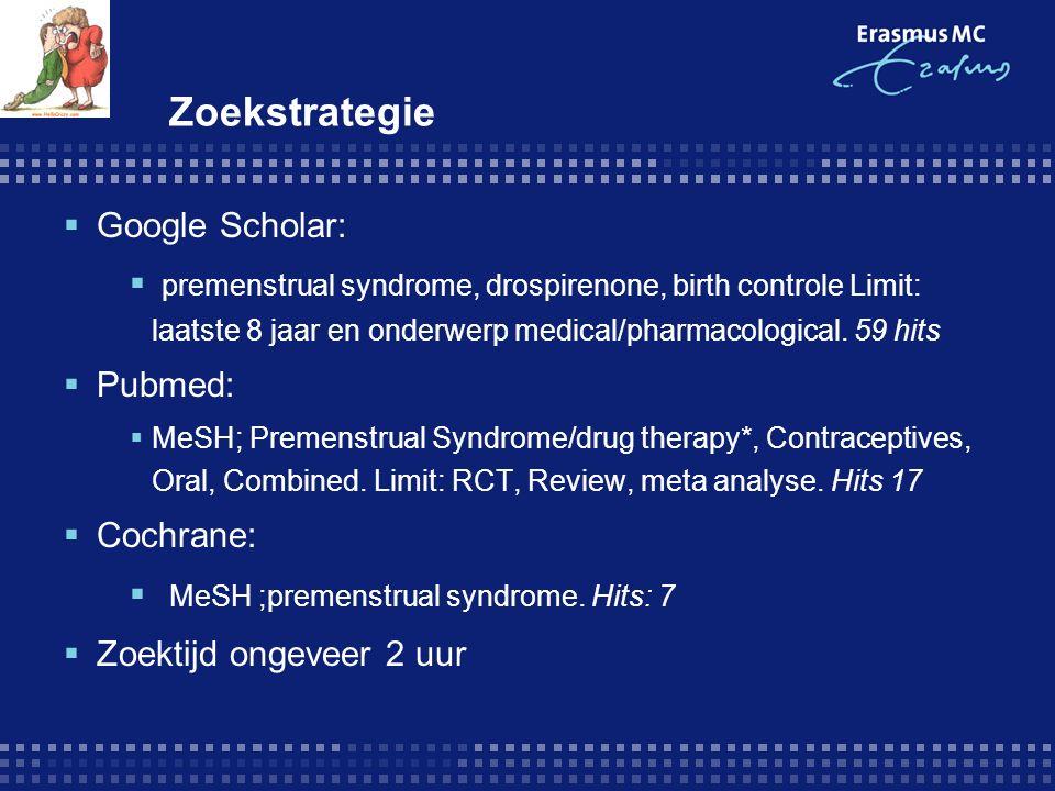 Zoekstrategie  Google Scholar:  premenstrual syndrome, drospirenone, birth controle Limit: laatste 8 jaar en onderwerp medical/pharmacological. 59 h