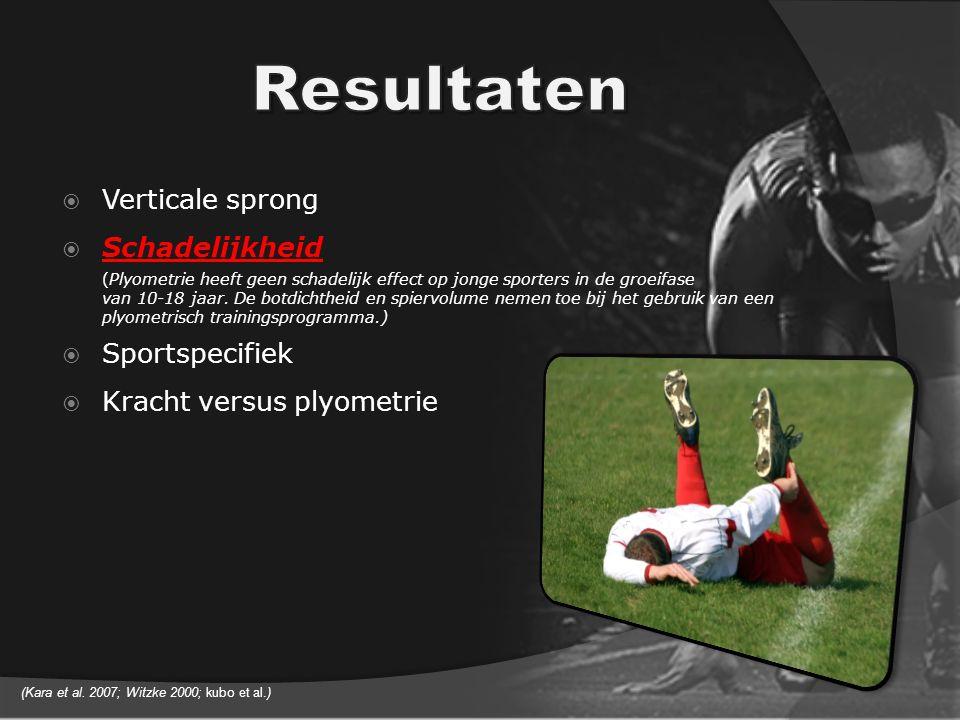  Verticale sprong  Schadelijkheid (Plyometrie heeft geen schadelijk effect op jonge sporters in de groeifase van 10-18 jaar.