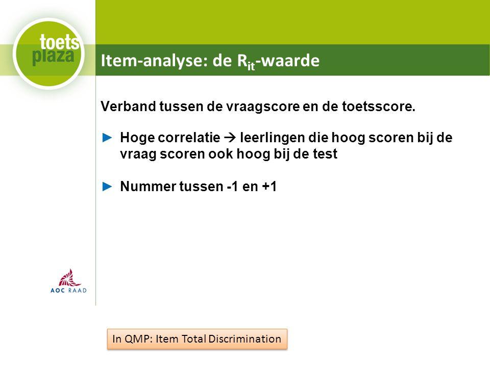 Item-analyse: de R it -waarde Verband tussen de vraagscore en de toetsscore.