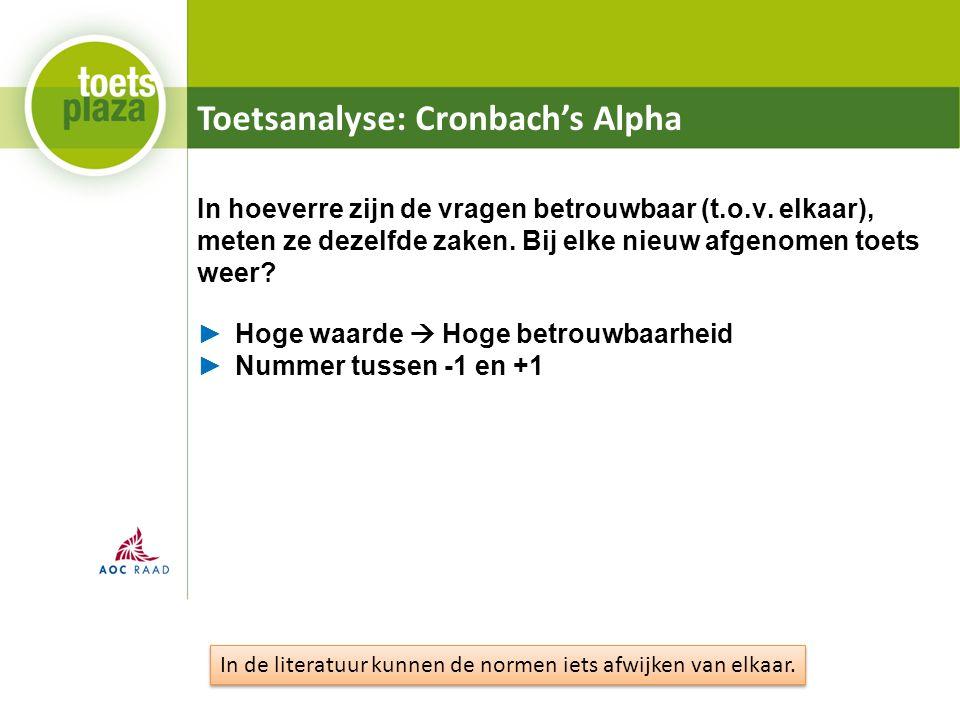 Toetsanalyse: Cronbach's Alpha In hoeverre zijn de vragen betrouwbaar (t.o.v.