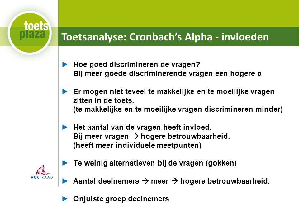 Toetsanalyse: Cronbach's Alpha - invloeden ►Hoe goed discrimineren de vragen? Bij meer goede discriminerende vragen een hogere α ►Er mogen niet teveel