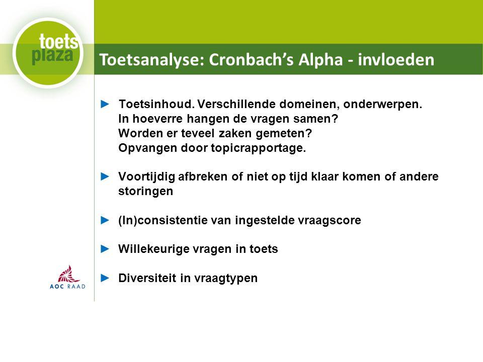 Toetsanalyse: Cronbach's Alpha - invloeden ►Toetsinhoud. Verschillende domeinen, onderwerpen. In hoeverre hangen de vragen samen? Worden er teveel zak