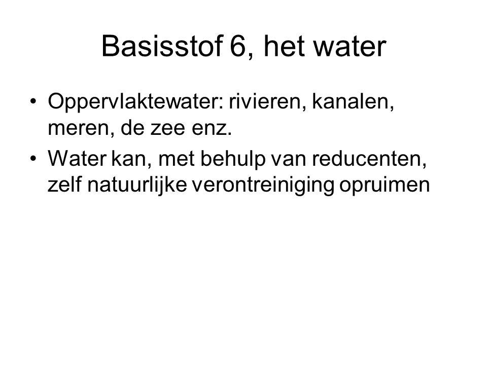 Basisstof 6, het water Oppervlaktewater: rivieren, kanalen, meren, de zee enz.