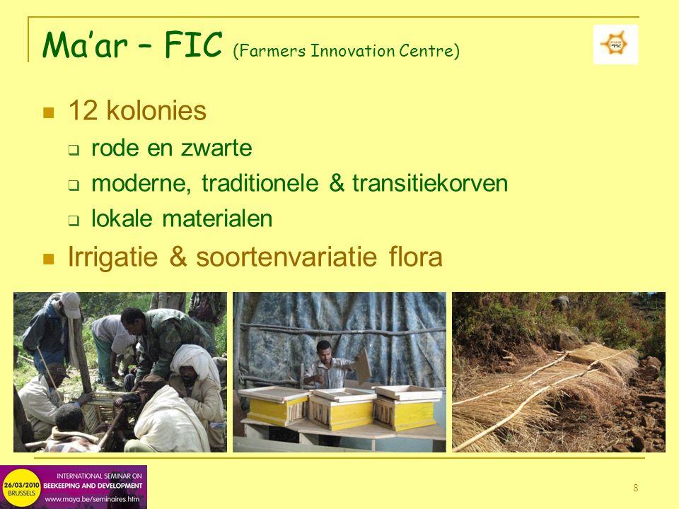 8 Ma'ar – FIC (Farmers Innovation Centre) 12 kolonies  rode en zwarte  moderne, traditionele & transitiekorven  lokale materialen Irrigatie & soortenvariatie flora