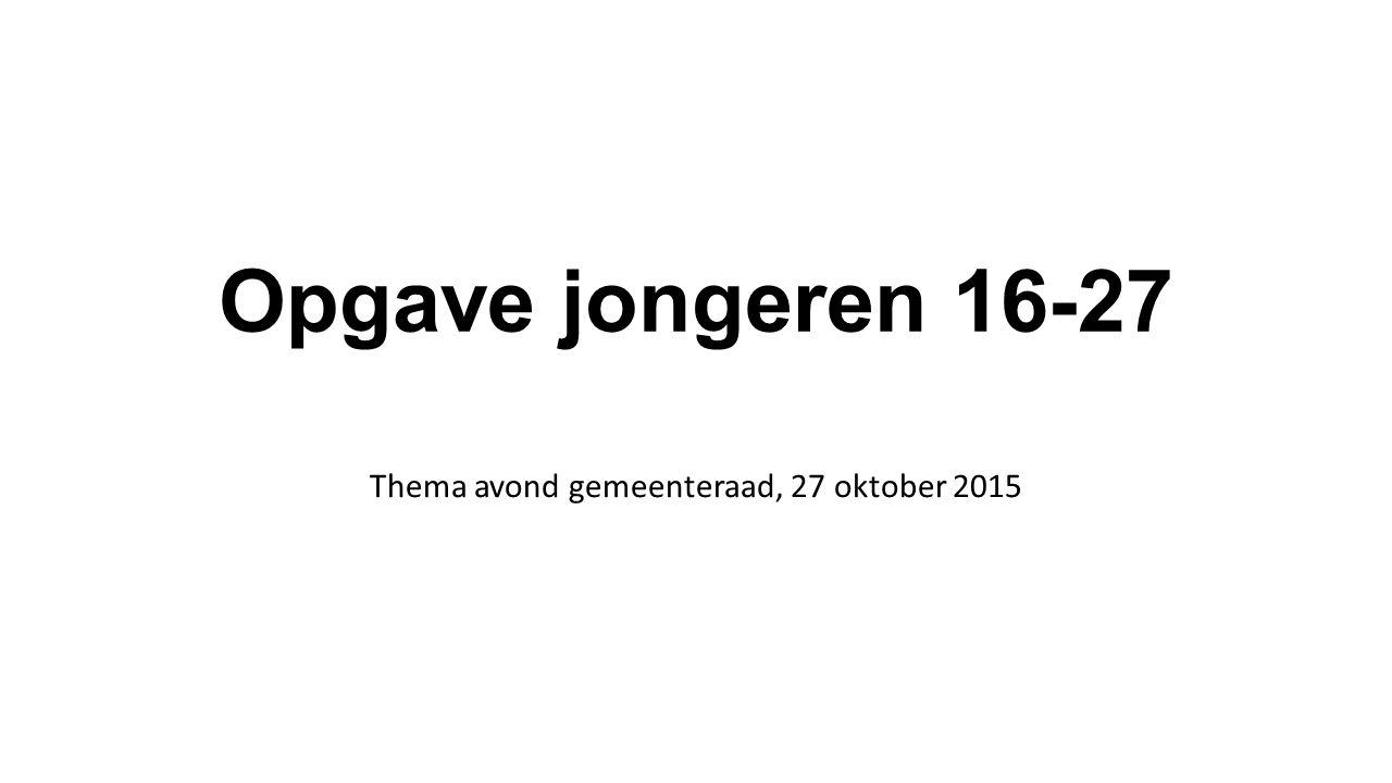Opgave jongeren 16-27 Thema avond gemeenteraad, 27 oktober 2015