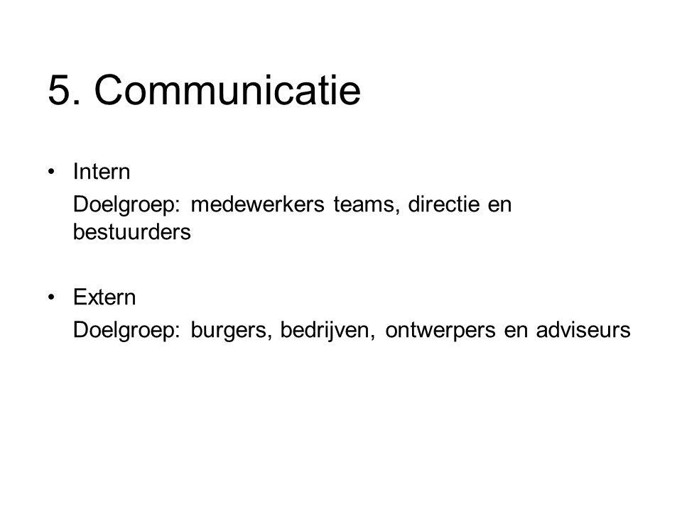 5. Communicatie Intern Doelgroep: medewerkers teams, directie en bestuurders Extern Doelgroep: burgers, bedrijven, ontwerpers en adviseurs