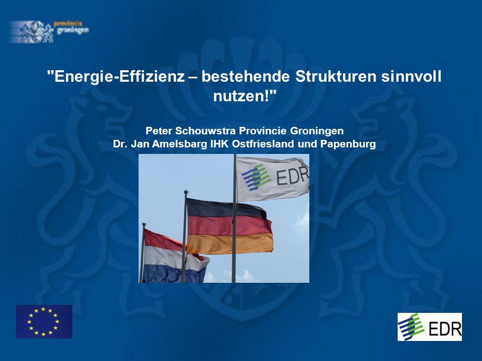 Energie-Effizienz – bestehende Strukturen sinnvoll nutzen! Peter Schouwstra Provincie Groningen Dr.