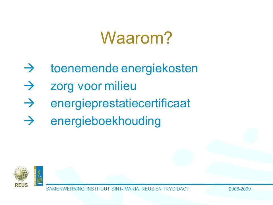 SAMENWERKING: INSTITUUT SINT-MARIA, REUS EN TRYDIDACT 2008-2009 Schoolgegevens  2 campussen  11 gebouwen  energiekosten 100 000 EUR