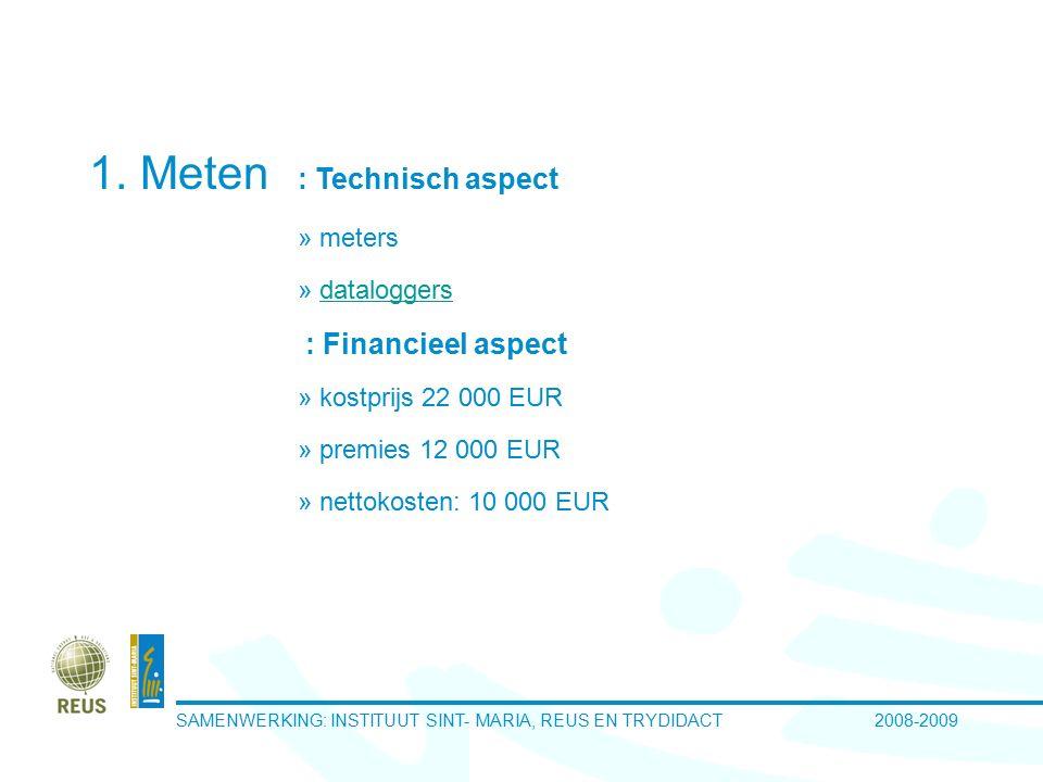 SAMENWERKING: INSTITUUT SINT- MARIA, REUS EN TRYDIDACT 2008-2009 1. Meten : Technisch aspect » meters » dataloggersdataloggers : Financieel aspect » k