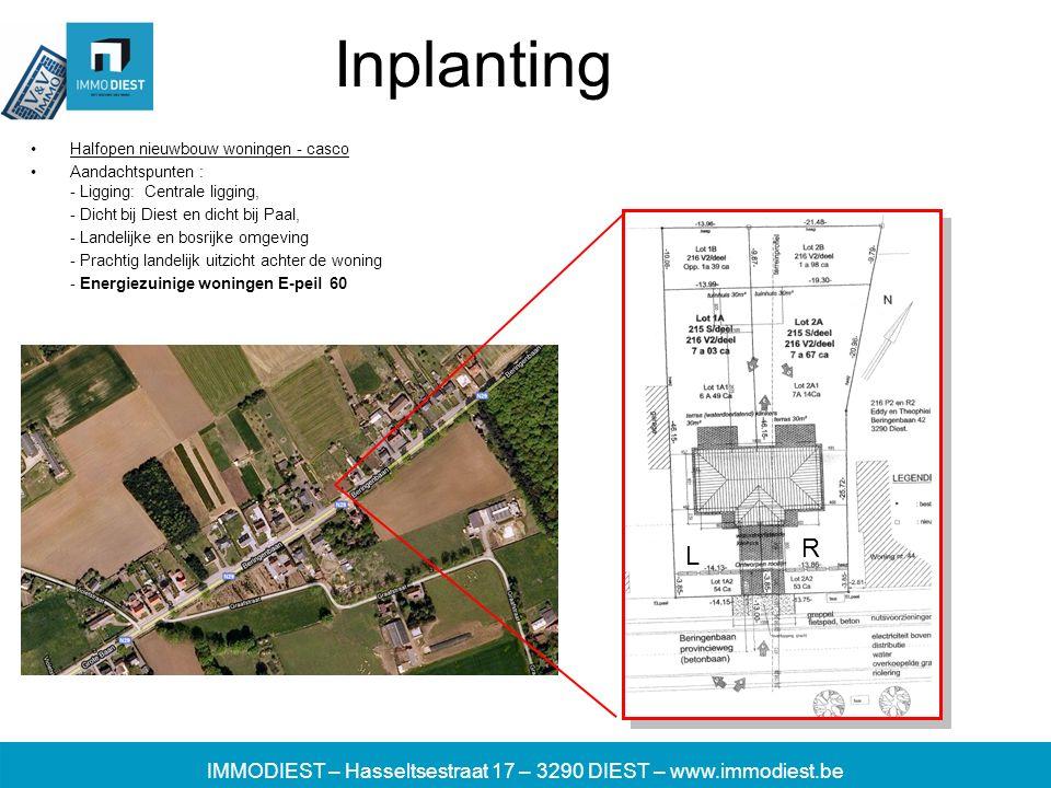 IMMODIEST – Hasseltsestraat 17 – 3290 DIEST – www.immodiest.be Inplanting Halfopen nieuwbouw woningen - casco Aandachtspunten : - Ligging: Centrale li