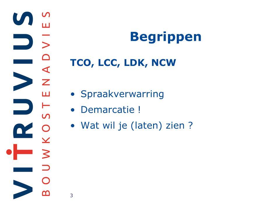 Begrippen TCO, LCC, LDK, NCW Spraakverwarring Demarcatie ! Wat wil je (laten) zien 3