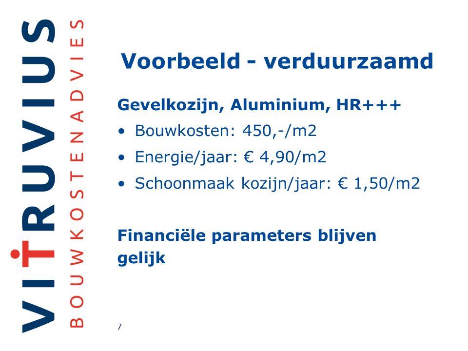 Voorbeeld - verduurzaamd Gevelkozijn, Aluminium, HR+++ Bouwkosten: 450,-/m2 Energie/jaar: € 4,90/m2 Schoonmaak kozijn/jaar: € 1,50/m2 Financiële parameters blijven gelijk 7