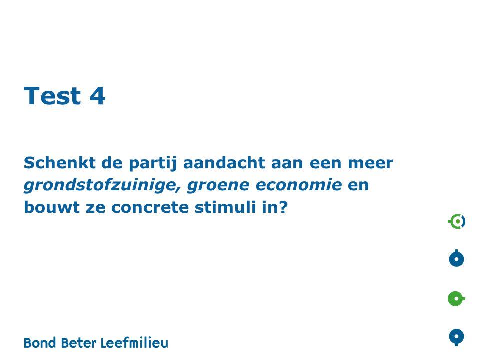 Test 4 Schenkt de partij aandacht aan een meer grondstofzuinige, groene economie en bouwt ze concrete stimuli in