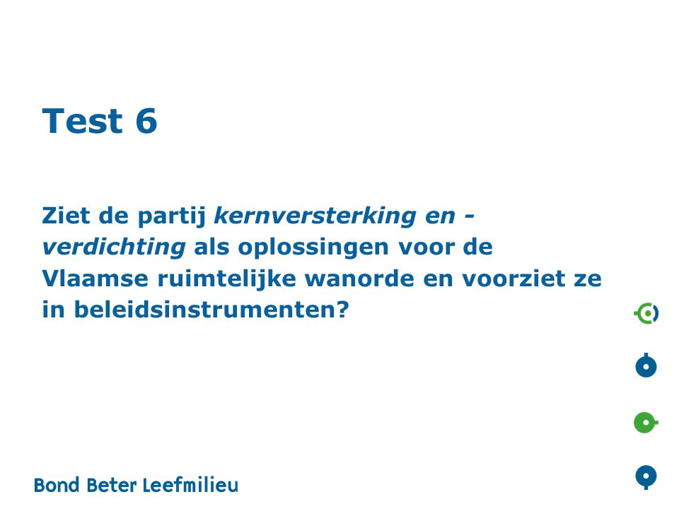 Test 6 Ziet de partij kernversterking en - verdichting als oplossingen voor de Vlaamse ruimtelijke wanorde en voorziet ze in beleidsinstrumenten