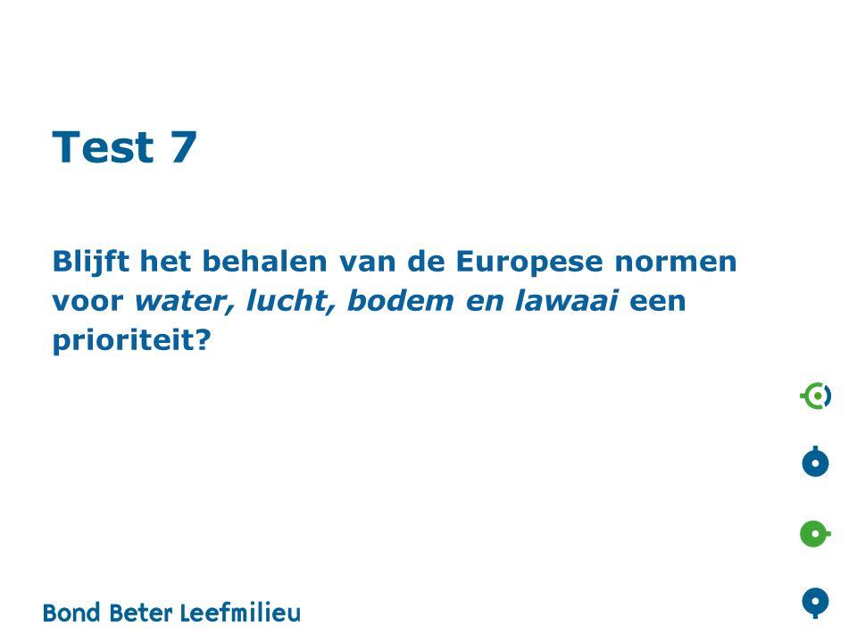 Test 7 Blijft het behalen van de Europese normen voor water, lucht, bodem en lawaai een prioriteit