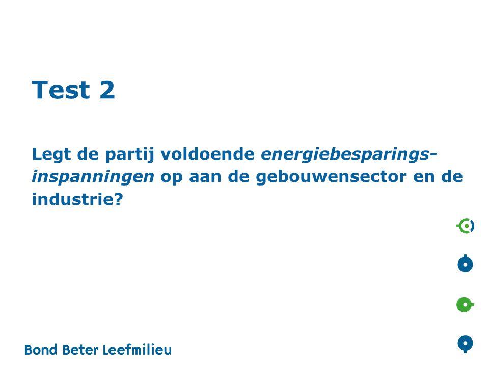 Test 2 Legt de partij voldoende energiebesparings- inspanningen op aan de gebouwensector en de industrie