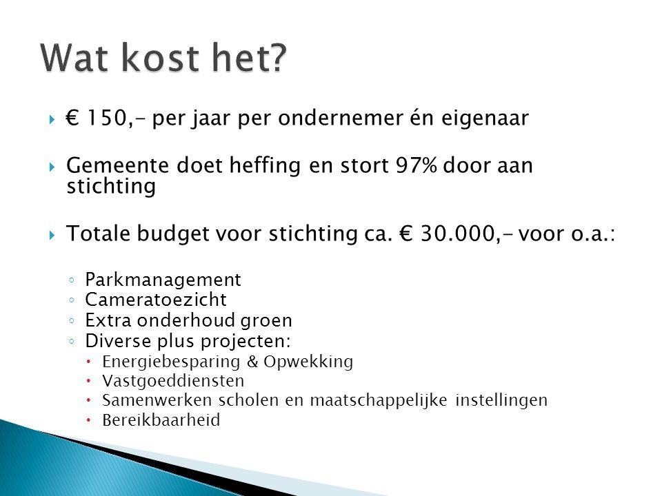  € 150,- per jaar per ondernemer én eigenaar  Gemeente doet heffing en stort 97% door aan stichting  Totale budget voor stichting ca. € 30.000,- vo