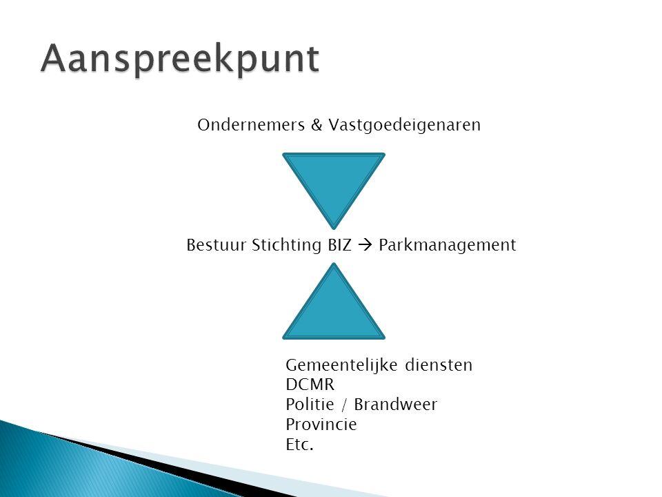 Bestuur Stichting BIZ  Parkmanagement Ondernemers & Vastgoedeigenaren Gemeentelijke diensten DCMR Politie / Brandweer Provincie Etc.