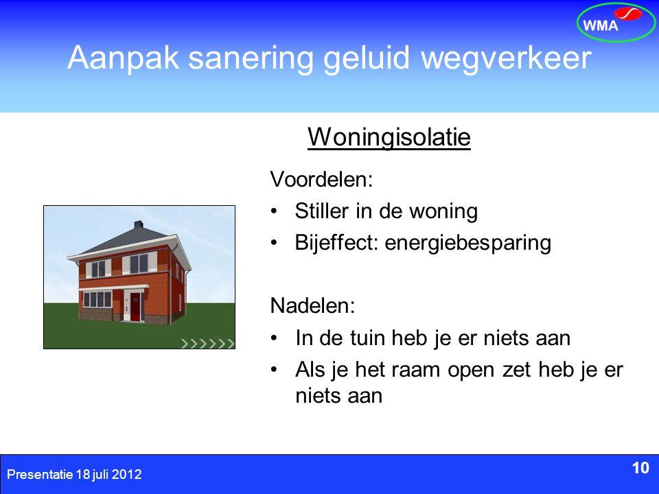 10 Presentatie 18 juli 2012 Aanpak sanering geluid wegverkeer 10 Woningisolatie Voordelen: Stiller in de woning Bijeffect: energiebesparing Nadelen: I
