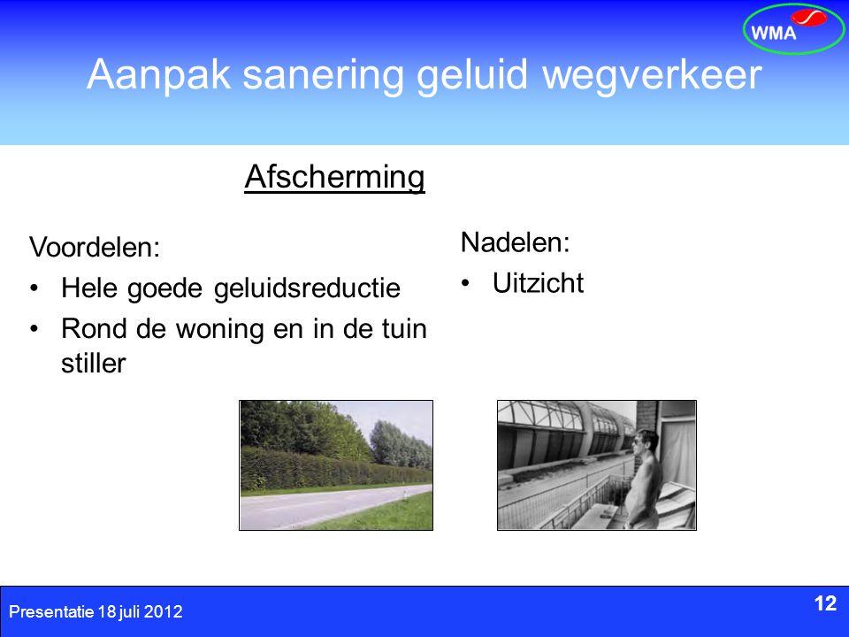 12 Presentatie 18 juli 2012 Aanpak sanering geluid wegverkeer Nadelen: Uitzicht 12 Afscherming Voordelen: Hele goede geluidsreductie Rond de woning en