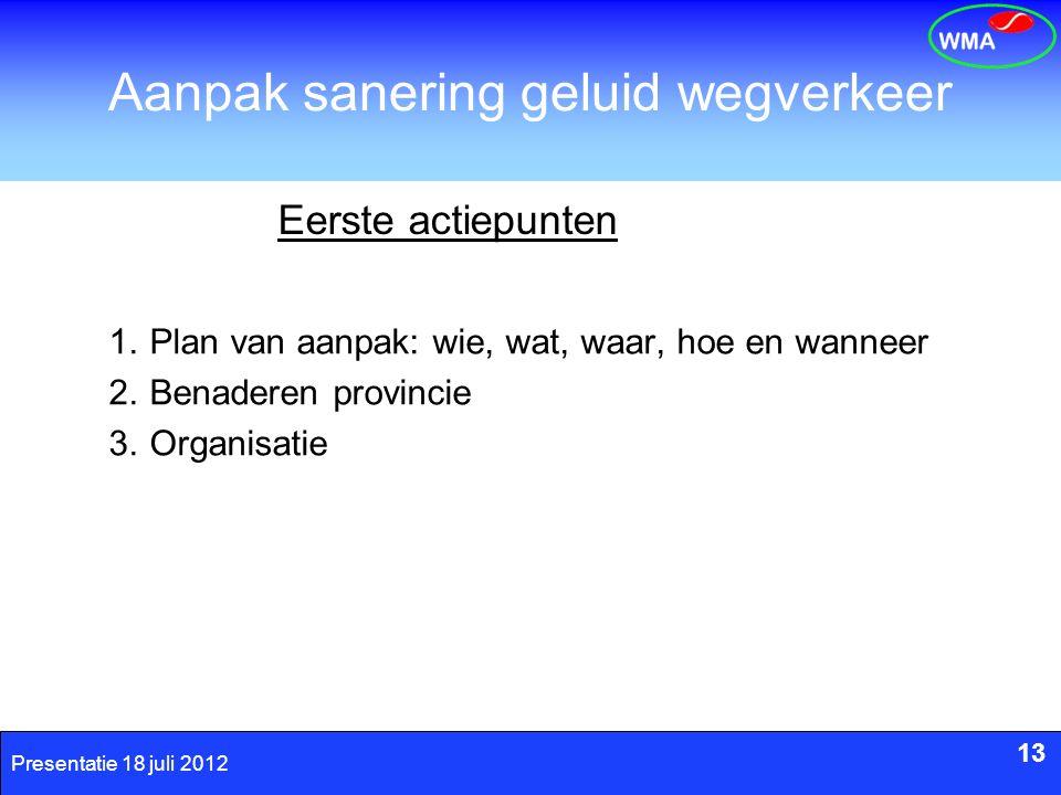 13 Presentatie 18 juli 2012 Aanpak sanering geluid wegverkeer 13 Eerste actiepunten 1.Plan van aanpak: wie, wat, waar, hoe en wanneer 2.Benaderen prov