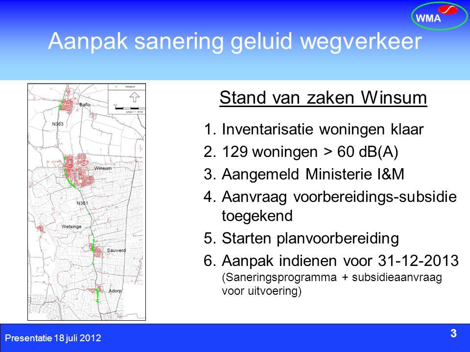 3 Presentatie 18 juli 2012 Aanpak sanering geluid wegverkeer 1.Inventarisatie woningen klaar 2.129 woningen > 60 dB(A) 3.Aangemeld Ministerie I&M 4.Aa