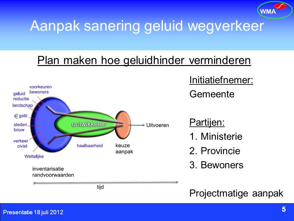 5 Presentatie 18 juli 2012 Aanpak sanering geluid wegverkeer 5 Plan maken hoe geluidhinder verminderen Initiatiefnemer: Gemeente Partijen: 1.Ministeri