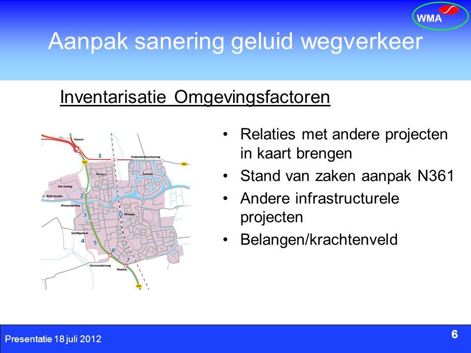 6 Presentatie 18 juli 2012 Aanpak sanering geluid wegverkeer 6 Inventarisatie Omgevingsfactoren Relaties met andere projecten in kaart brengen Stand v