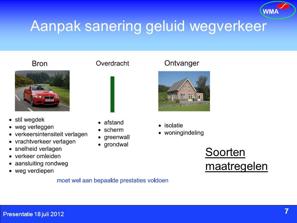 7 Presentatie 18 juli 2012 Aanpak sanering geluid wegverkeer 7 Soorten maatregelen