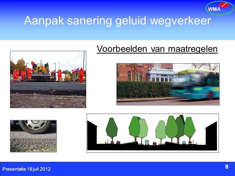 8 Presentatie 18 juli 2012 Aanpak sanering geluid wegverkeer 8 Voorbeelden van maatregelen