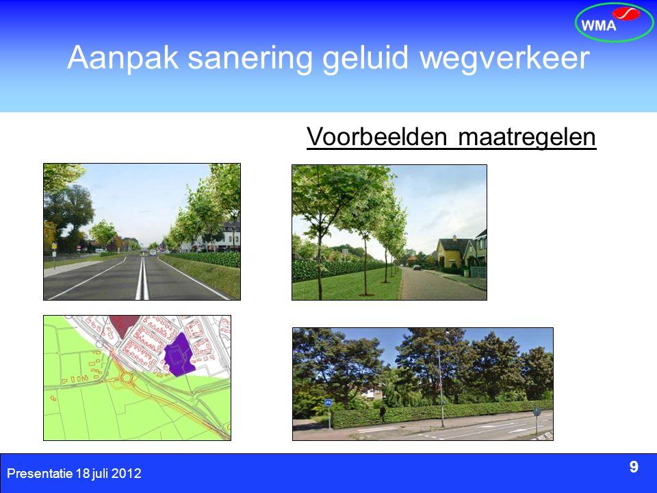 9 Presentatie 18 juli 2012 Aanpak sanering geluid wegverkeer 9 Voorbeelden maatregelen