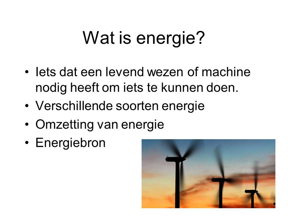 Energiebronnen Direct of indirect van de zon Elektriciteit (accu's of batterijen) Verbranding van fossiele brandstoffen