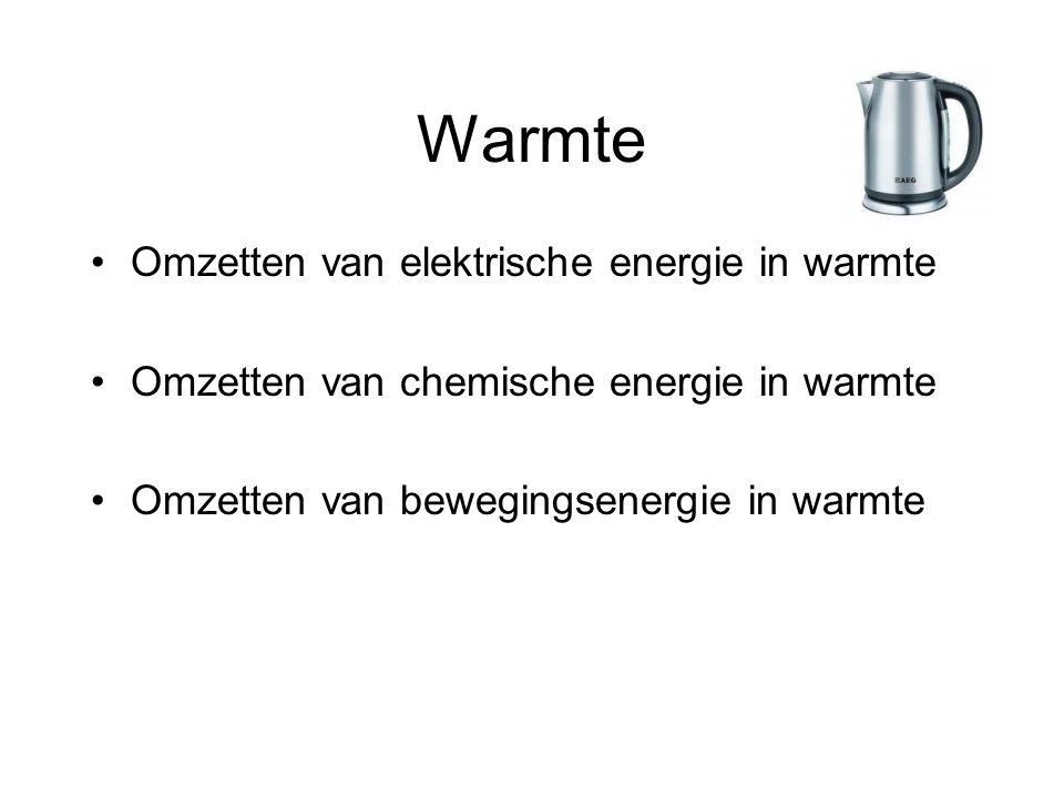 Warmte Omzetten van elektrische energie in warmte Omzetten van chemische energie in warmte Omzetten van bewegingsenergie in warmte