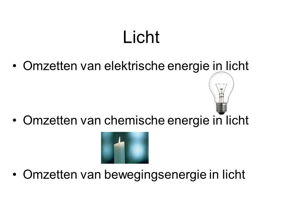 Licht Omzetten van elektrische energie in licht Omzetten van chemische energie in licht Omzetten van bewegingsenergie in licht