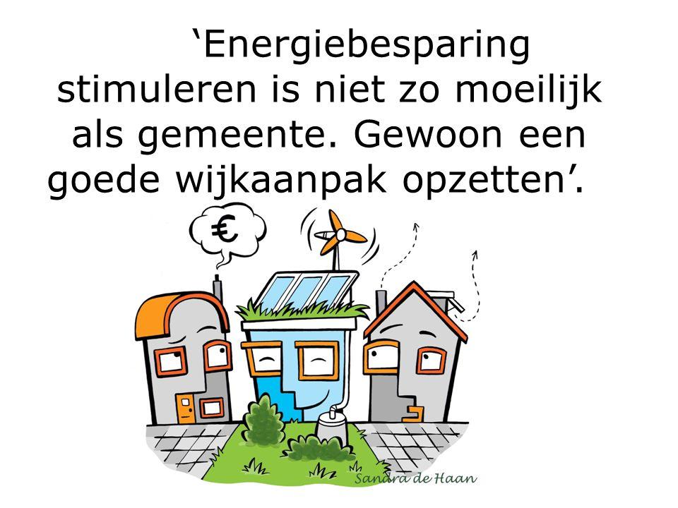 'Energiebesparing stimuleren is niet zo moeilijk als gemeente. Gewoon een goede wijkaanpak opzetten'.