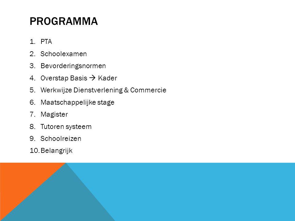 PROGRAMMA 1.PTA 2.Schoolexamen 3.Bevorderingsnormen 4.Overstap Basis  Kader 5.Werkwijze Dienstverlening & Commercie 6.Maatschappelijke stage 7.Magist