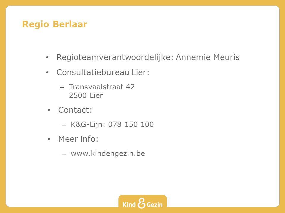 Regioteamverantwoordelijke: Annemie Meuris Consultatiebureau Lier: – Transvaalstraat 42 2500 Lier Contact: – K&G-Lijn: 078 150 100 Meer info: – www.ki