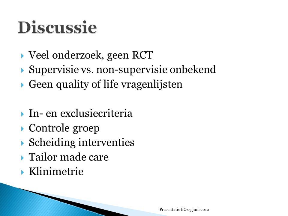  Veel onderzoek, geen RCT  Supervisie vs. non-supervisie onbekend  Geen quality of life vragenlijsten  In- en exclusiecriteria  Controle groep 