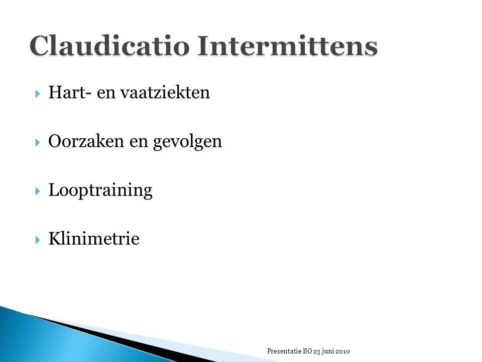  Hart- en vaatziekten  Oorzaken en gevolgen  Looptraining  Klinimetrie Presentatie BO 23 juni 2010