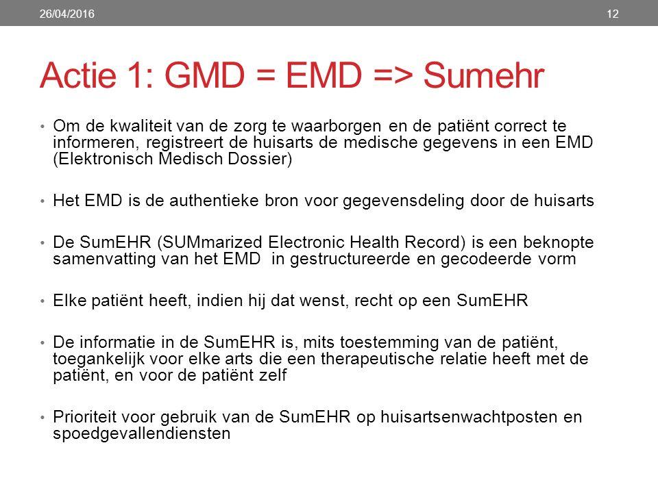 Actie 1: GMD = EMD => Sumehr Om de kwaliteit van de zorg te waarborgen en de patiënt correct te informeren, registreert de huisarts de medische gegevens in een EMD (Elektronisch Medisch Dossier) Het EMD is de authentieke bron voor gegevensdeling door de huisarts De SumEHR (SUMmarized Electronic Health Record) is een beknopte samenvatting van het EMD in gestructureerde en gecodeerde vorm Elke patiënt heeft, indien hij dat wenst, recht op een SumEHR De informatie in de SumEHR is, mits toestemming van de patiënt, toegankelijk voor elke arts die een therapeutische relatie heeft met de patiënt, en voor de patiënt zelf Prioriteit voor gebruik van de SumEHR op huisartsenwachtposten en spoedgevallendiensten 26/04/201612