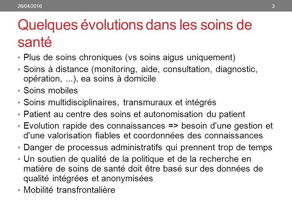 Quelques évolutions dans les soins de santé Plus de soins chroniques (vs soins aigus uniquement) Soins à distance (monitoring, aide, consultation, dia