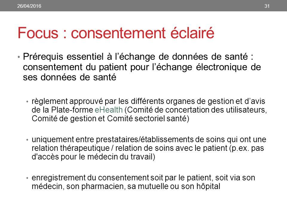Focus : consentement éclairé Prérequis essentiel à l'échange de données de santé : consentement du patient pour l'échange électronique de ses données